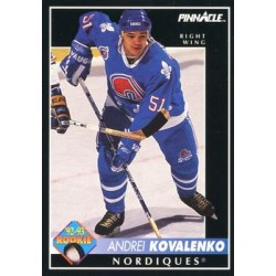 1992-93 Pinnacle c. 395 Andrei Kovalenko RC QUE