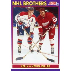 1991-92 Score American c. 309 Kelly Miller / Kevin Miller (NHL Brothers)  WSH