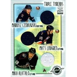 2001-02 Crown Royale Triple Threads Jersey c. 014 Czerkawski / Lindgren / Alatalo NYI