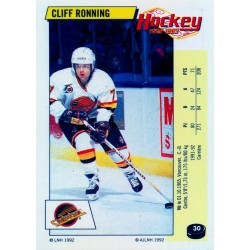 1992-93 Panini Stickers FRENCH c. 030 Ronning Cliff VAN