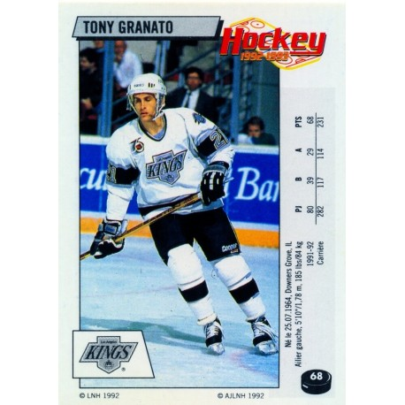1992-93 Panini Stickers FRENCH c. 068 Granato Tony LAK