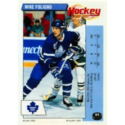 1992-93 Panini Stickers FRENCH c. 084 Foligno Mike TOR