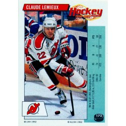 1992-93 Panini Stickers FRENCH c. 172 Lemieux Claude NJD