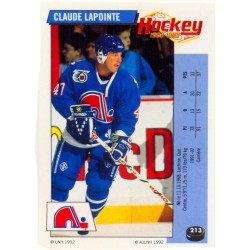 1992-93 Panini Stickers FRENCH c. 213 Lapointe Claude QUE