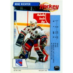 1992-93 Panini Stickers FRENCH c. 231 Richter Mike NYR