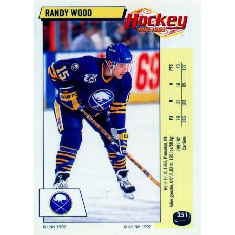 1992-93 Panini Stickers FRENCH c. 251 Wood Randy BUF