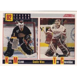 1992-93 Score Season Leader c. 417 Tim Cheveldae / Kirk McLean DET