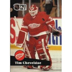 1991-92 Pro Set French c. 057 Tim Cheveldae DET